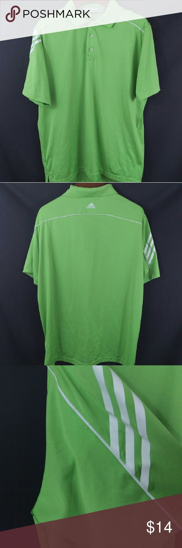 """Adidas ClimaCool Golf Polo Shirt Lime XL Awesome golfing polo from Adidas. A light a stretchy athletic material with ventilation.   Chest 25"""" across, sleeve 11"""", length 30""""  EST3 Adidas Shirts Polos"""