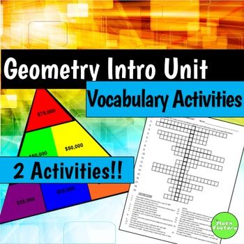 Introduction to Geometry Vocabulary: This zip file contains 3 files: a geometry vocabulary worksheet, a PowerPoint Vocab Triangle game and a Smart Notebook Vocab Triangle game.The worksheet DOES NOT have a word bank because I find students just count the number of letters and don't use their knowledge of the words.