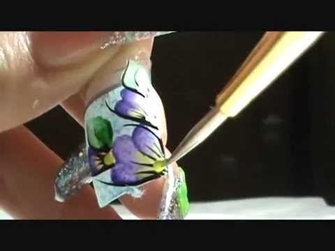 Dise~o a Mano Alzada *_* ( one stroke step by step ) Nails design