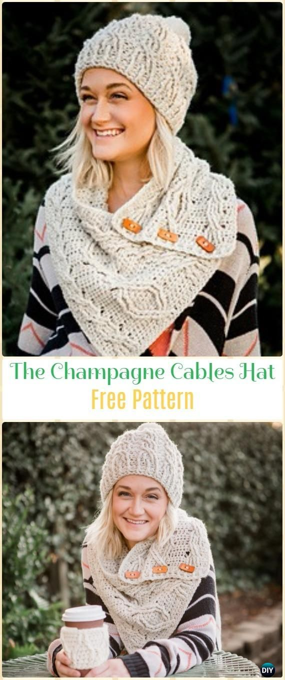 Crochet The Champagne Cables Hat Free Pattern - Crochet Cable Hat Free Patterns