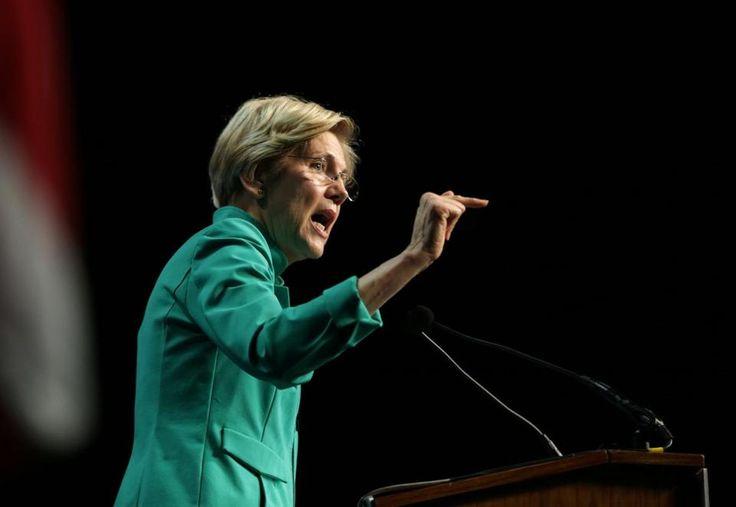 06/03/2017 Worcester Ma- Massachusetts U.S. Senator Elizabeth Warren (cq) speaking at he Massachusetts Democratic Convention. Globe Staff\Photograph Jonathan Wiggs Reporter:Topic