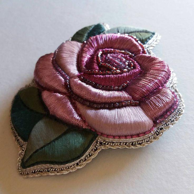 """1,375 Likes, 23 Comments - Marina Knyazeva (@submarina707) on Instagram: """" #submarina707 #embroidery #embroideryart #embroideryprocess #brooch #rose #goldwork…"""""""