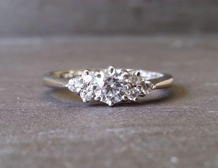 Skinny Thin Trilogy Diamond Engagement Ring, Knife Edge Diamond Ring, Classic Elegant Engagement Ring by ArahJames on Etsy https://www.etsy.com/listing/246074002/skinny-thin-trilogy-diamond-engagement