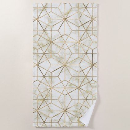 Modern gold and marble geometric star flower image beach towel - marble gifts style stylish nature unique personalize