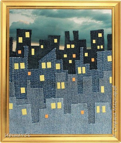 Картина панно рисунок Аппликация Джинсовое панно Ночной город Материал бросовый Ткань фото 1
