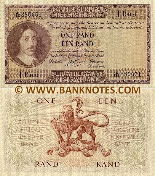 "South Africa 1 Rand (1961-1965)  Obverse: Portrait of Johan Anthoniszoon ""Jan"" van Riebeeck (21 April 1619 – 18 January 1677). Reverse: Coat of Arms depicting a lion. Signature: Dr. Gerard Rissik (in office from 1 July 1962 to 30 June 1967). Watermark: Portrait of Jan van Riebeeck."