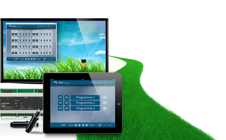 Make easy green.  #Domotics integration to control your #irrigation system from iPhone, iPad, Android devices and computers. L'integrazione #domotica per il controllo remoto dell'#irrigazione.