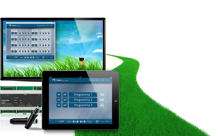 Make easy green.  #Domotics integration to control your #irrigation system from iPhone, iPad, Android devices and computers. L'integrazione #domotica per il controllo remoto dell'#irrigazione.