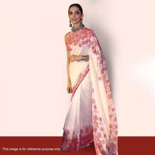 Deepika Padukone's White Color Bollywood Sarees With Pink Floral Embroidery Work Designer Bollywood Sarees