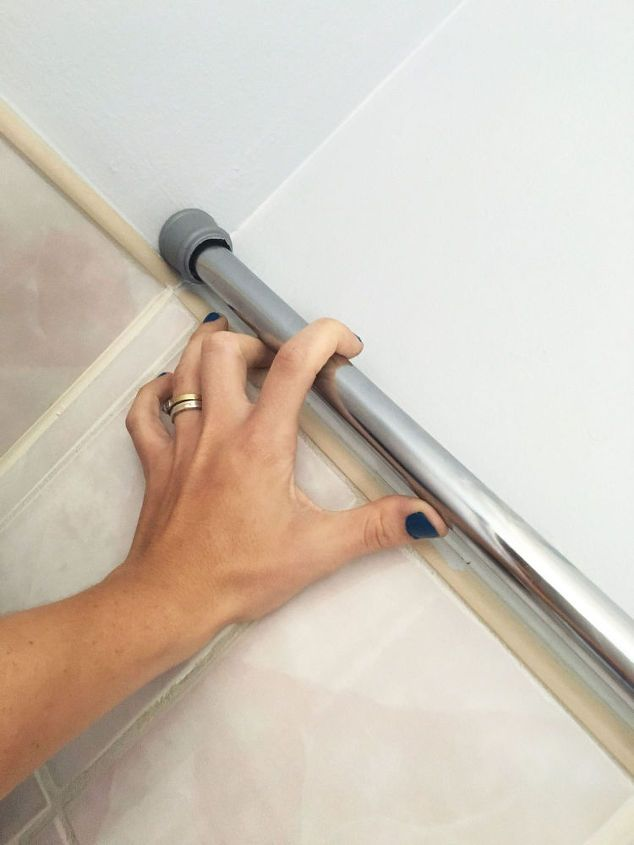 Tension rod shower storage bathroom ideas storage ideas for Bathroom remodel 41017