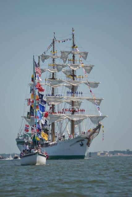 Tall ships sailing into Norfolk,VA