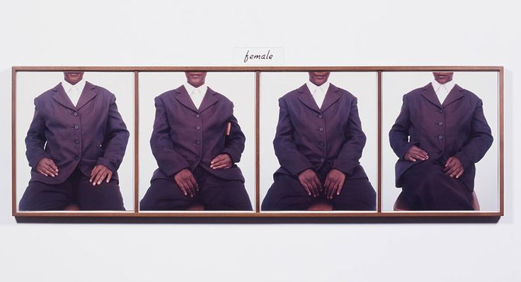 Lorna Simpson. She, 1992. 4 Polaroid prints, 1 engraved plastic plaque, 29 x 85 1/4 inches.
