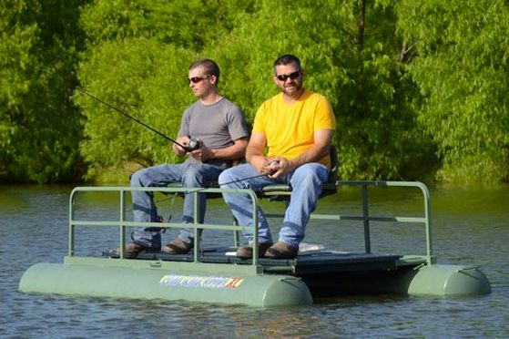 Fishing on the Pond King Rebel XL mini pontoon boat