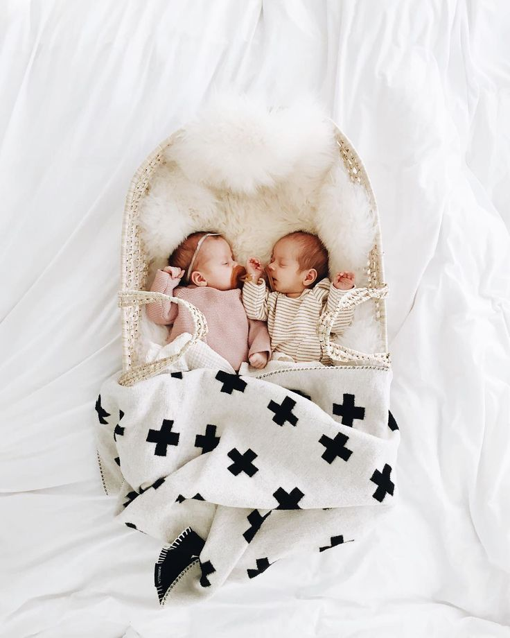 """"""" my sleeping angel babies being all irresistible and stuff. i'm dreading the day they don't fit into this basket together anymore.  #calandjune"""""""