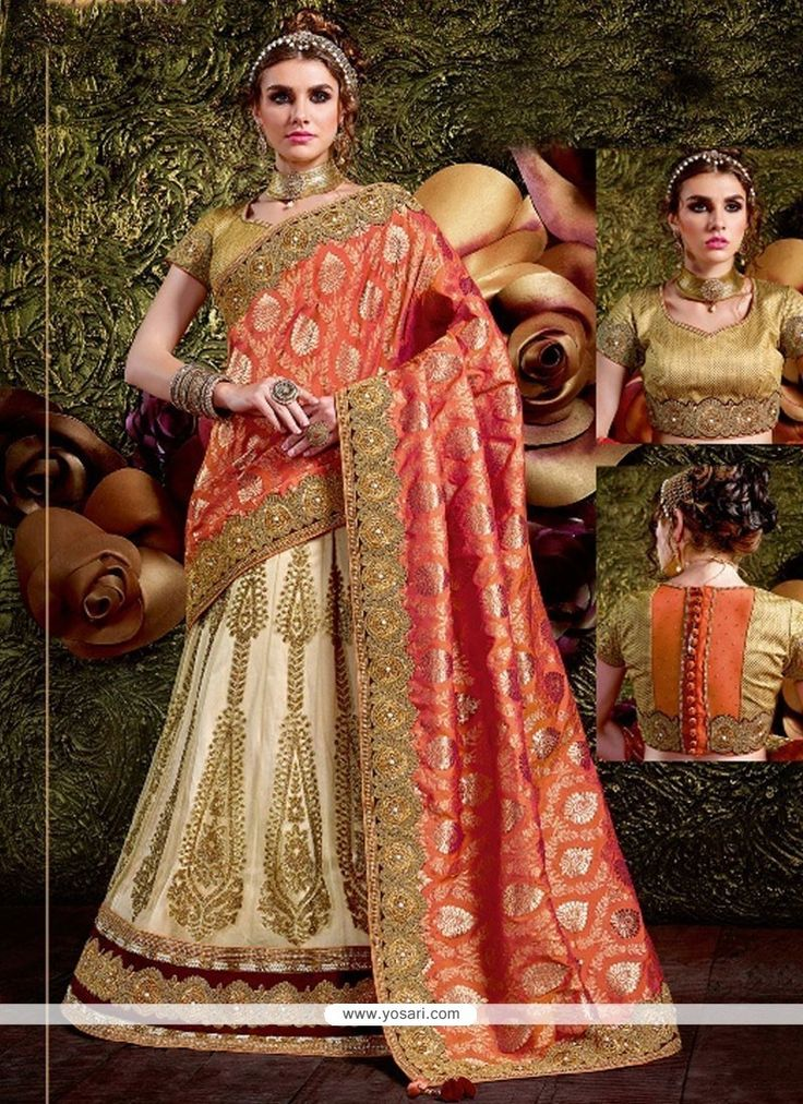 Irresistible Net Off White And Orange Lehenga Saree Model: YOSAR11695