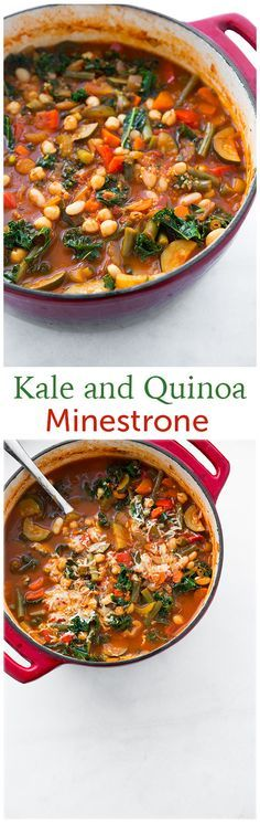Kale and Quinoa Minestrone - this healthy soup is AMAZING! I'll make this again and again! – More at http://www.GlobeTransformer.org