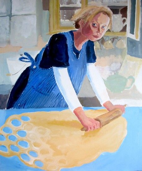 Great-Grandmother's Apron (Self-portrait) 120 x 100cm, Acrylic on canvas by Brita Granstrom