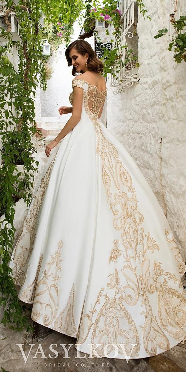 Gold Wedding Gowns Ball Gown Off The Shoulder With White Vasylkov Weddingdresseschampagne Rose Gold Wedding Dress Gold Wedding Gowns Wedding Dresses Lace