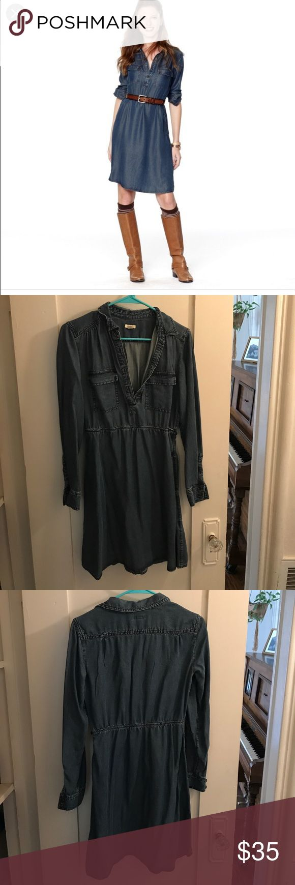 Fossil long-sleeves denim dress Fossil long-sleeves denim dress with pockets. Great condition. Fossil Dresses Mini