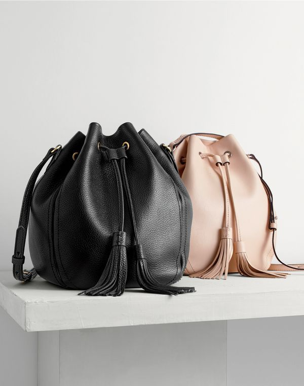 J.Crew women's tassel-tie bucket bag in pebbled leather and tassel-tie bucket bag in smooth leather.