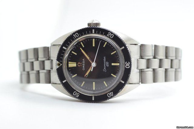 Omega Seamaster ad: £1,314 Omega Seamaster 120 Ref. No. ST535.007; Steel; Manual winding; Condition 2 (fine); Year 1969; With papers; Location
