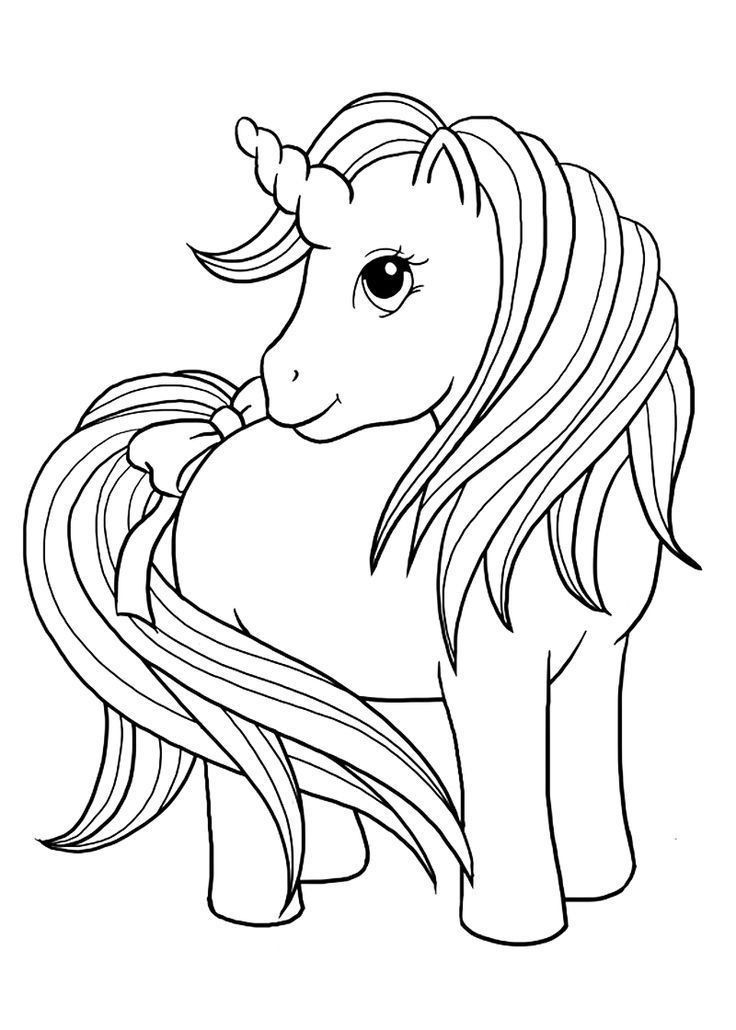 Unicorn Face Coloring Page in 2020