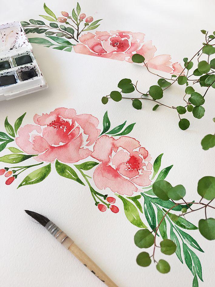 Pivoines peintes à l'aquarelle pour le faire-part de mariage pivoine. Watercolor peonies.