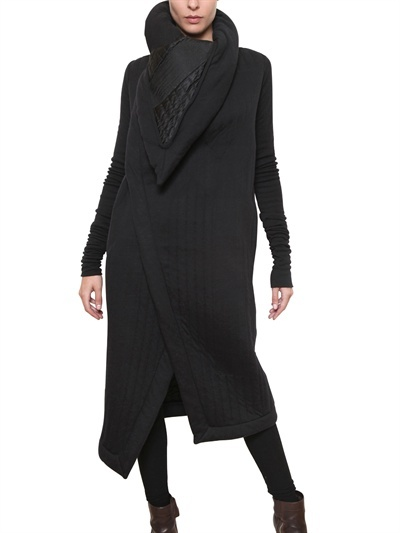 RICK OWENS - HEAVY QUILTED VISCOSE WOOL JERSEY COAT - LUISAVIAROMA - LUXURY SHOPPING WORLDWIDE SHIPPING - FLORENCE