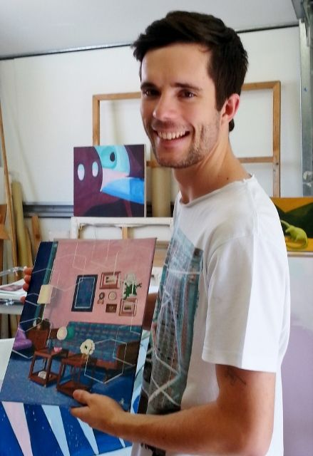 David Ledger with works in progress in his studio. Pic by Gail Robinson