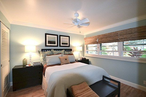 Portland couple seen on HGTV House Hunters series remodeled a Hawaiian bedroom to reflect colors of the sand, waves, reef and sky.