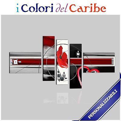 Quadri Moderni Astratti Dipinti A Mano Olio Su Tela  Rosso Bianco Nero