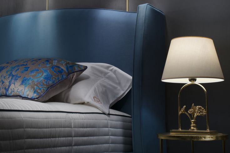 Beautiful design. Royal blue upholstered bed. #bed #boxspringbed #boxspring #bedroom #inspiration #bedroominspiration #bedroominspo