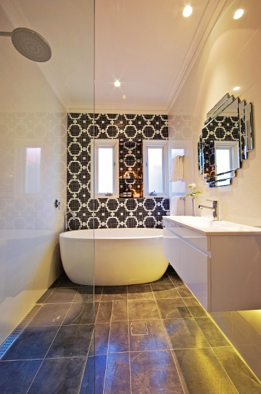 Bathroom from TV series The Block, by Erin Michaels - love the juxtaposition of textured print walls and cool floor