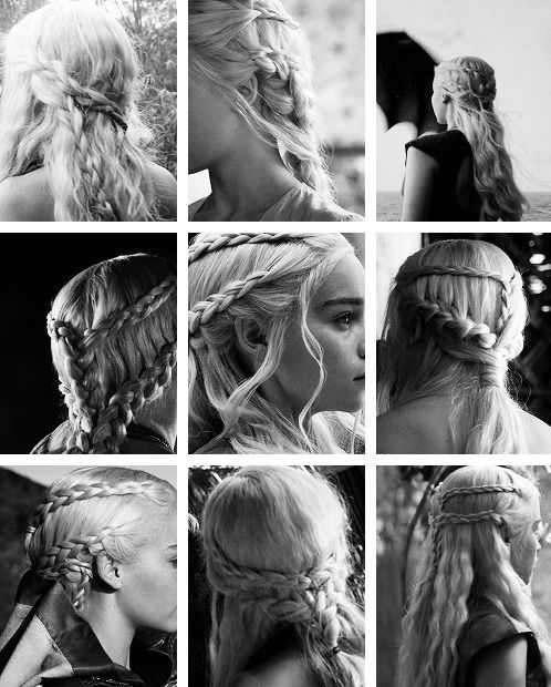 Khaleesi mother of dragons, Daenery Targaryen. Game of Thrones hairstyle. Love her braids, amazing.   http://your-last-centurion.tumblr.com/post/76368041965