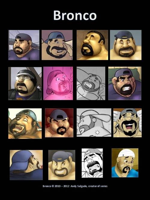Bronco Jimenez fuck-face expression guide by Andy Salgado! This is the fifth entry for the Homoerotic Fuck-Face Facial Expression Guide Challenge!I challenge illustrators, cartoonists and artists of the internet to make fuck-face guide with a character of their choice! It could be an original character or a comic book or comic strip character; entries that have multiple fuck face expressions in a facial expression guide format like the one above will qualify for inclusion in the challenge…