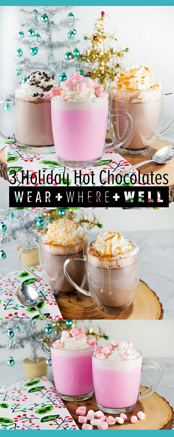 Three hot chocolate recipes for the holiday season! There is Caramel Hot Chocolate, Double the Chocolate Hot Chocolate and Peppermint White Chocolate Hot Chocolate
