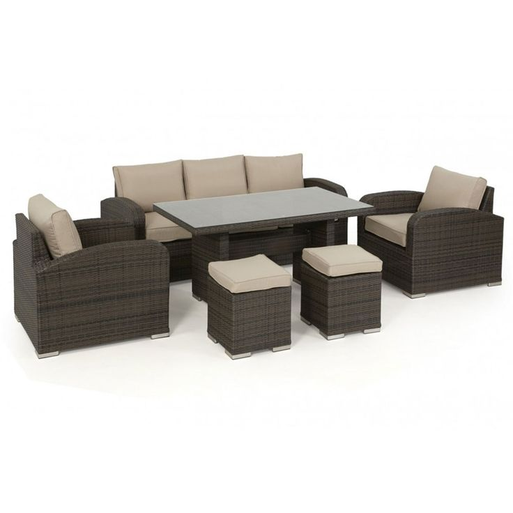 The Maze Rattan LA Casual Sofa Dining Set is a wonderful addition to any garden. Pull the table away and you have a luxurious lounge set, or draw it up and dine in comfort and style. A large 3 piece sofa and 2 armchairs with 2 additional footstools mean you can get up to 7 people seated comfortably. The all weather synthetic rattan can be left outside all year round and is virtually maintenance free.