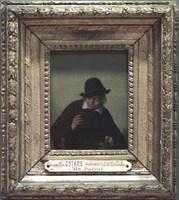Adriaen van OSTADE  Haarlem, 1610 - Haarlem, 1685    Le Buveur   1668   H. : 0,18 m. ; L. : 0,14 m.    Oeuvre présentant le lisse et le fini caractéristiques de la production tardive de l'artiste.