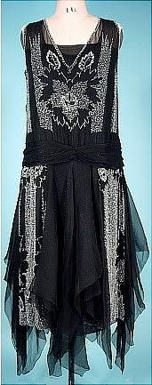 c. 1920's Black Deco Beaded Flapper Dress with Chiffon Scarves. Front