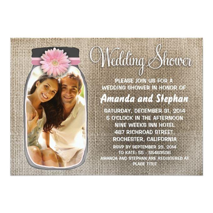 Rustic Mason Jar And Your Photo Wedding Shower Card