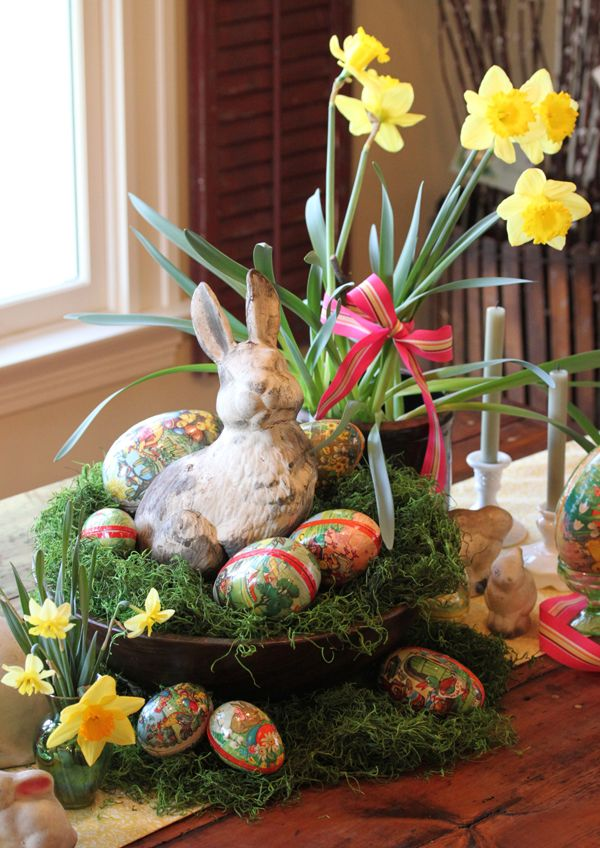 Cute centerpiece: Easter Idea, Easter Centerpieces, Easter Decoration, Easter Bunnies, Easter Tables, Tables Display, Tables Decoration, Easter Eggs, Easter Baskets
