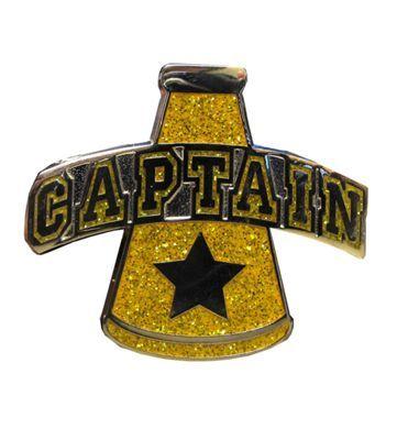 Captain Gold Cheer Megaphone Pin #cheerleading