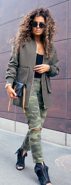 Camo Jeans And Wang Heels Outfit Idea