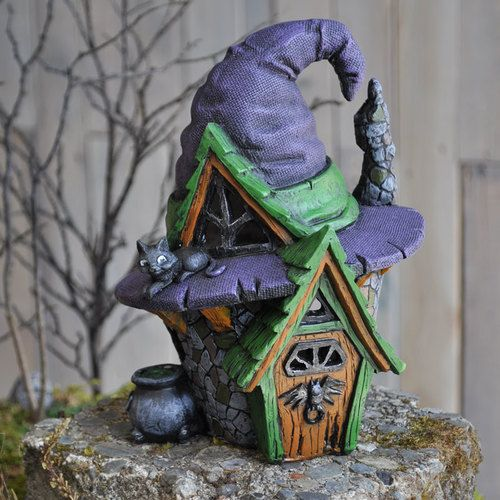 Fiddlehead Village Witch Hat House - Used year round to add that enticing spunk to your garden.  This could be used with many themes. EG: Halloween, The mother in laws home, Hansel and Gretel escape, Snow White ... there are so many ideas for this magical piece. #fairygardeningaustralia