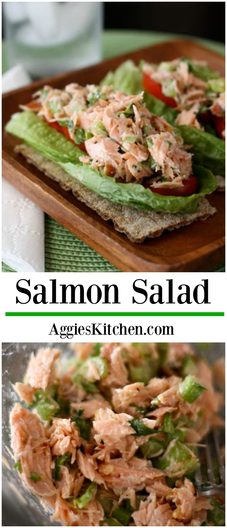 This simple Salmon Salad is a great switch up from your tuna sandwich. Bake up some extra salmon at dinnertime and use up the leftovers to create this protein packed salmon salad for lunch the next day! Recipe via aggieskitchen.com