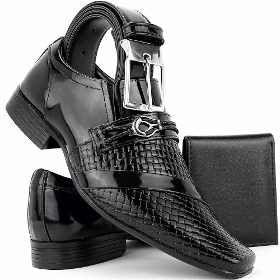 Sapato Social Masculino Envernizado Brilhoso Em Couro+cinto - R$ 99,80