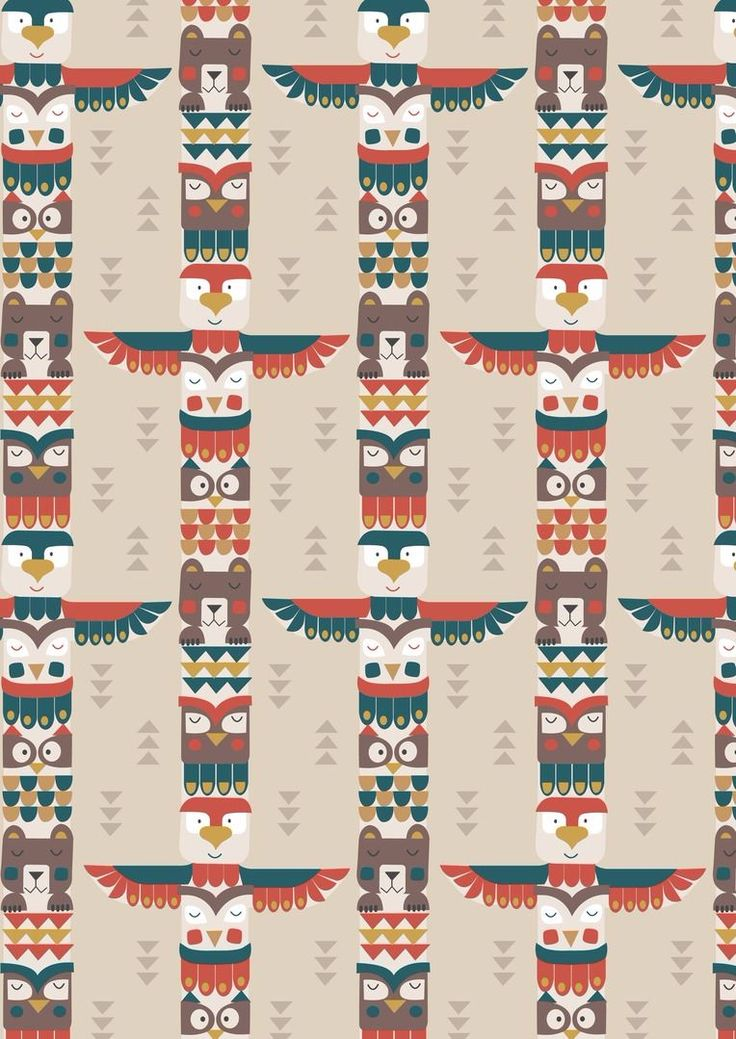 Big Bear Little Bear A105.1 - Bear & friends totem on milky tea from Lewis // Juberry Fabrics