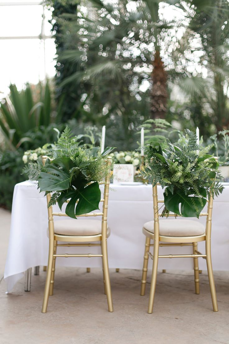 Greenery Chair Back Decor | Wisley Venue Hire | Botanical Wedding Decor Ideas | Greenery | Amy Fanton Photography | http://www.rockmywedding.co.uk/greenery-wedding-decor/