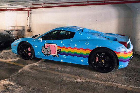 La voiture tunée Nyan Cat| Miaoustache