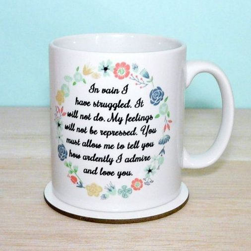Jane Austen Mug, Pride and Prejudice Mug, Mr Darcy's Proposal, In Vain I have Struggled... Quote Mug, Floral Mug, Romantic, Statement Mug - 2-sided designTaking inspiration from Jane Austen's novel Pride and Prejudice which was first published in 1813. As the book's name suggests, this tale deals with issues in the 19th Century of social standing, morality, marriage and love through the main characters;- intelligent, spirited and quick witted Elizabeth Bennet and of course the das...